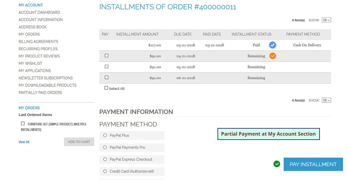 Partial Payment and Layaway
