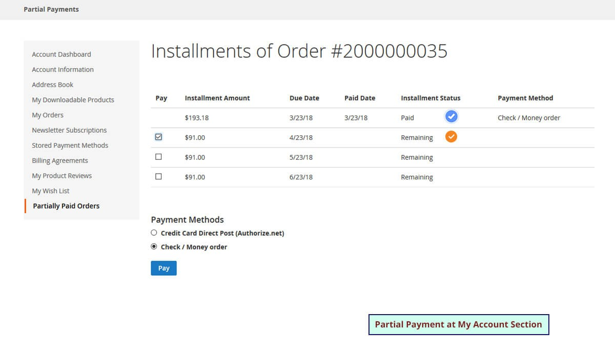 Partial Payment M2