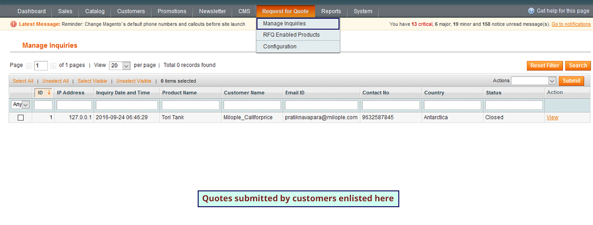 manage Inquiries Screenshot