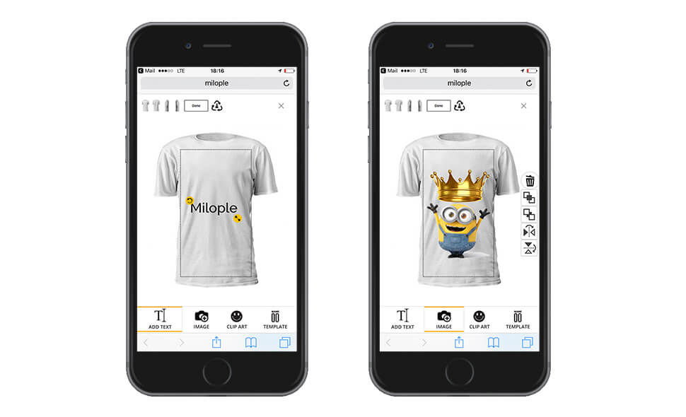 Milople Personalized Products Mobile Friendly UI/UX