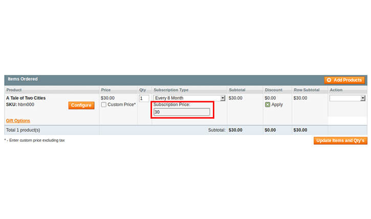 ADMIN CAN SET A NEW SUBSCRIPTION COST OVERTIME WHILE CREATING ORDER FROM BACKEND